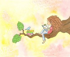 Bluebird and Girl with Light Brown Curly Hair  Writing - The GIRL Who WROTE STORIES  -  Art Print