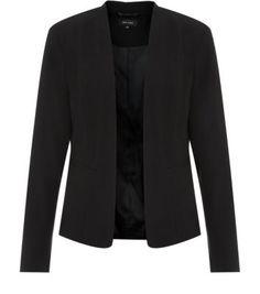 Black Collarless Structured Blazer