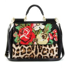 Dolce & Gabbana Animal Print And Embroidered Woven Bag found on Polyvore
