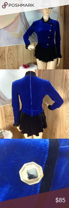 Rebel SKATEGEAR Blue Black Velvet Bodysuit SZ Med. This vintage ice-skating bodysuit is absolutely stunning! It has the peplum style/look! Not only is the velvet look very in this coming season...you will most likely be the only person rocking this cool as shite piece! This has a back zipper and quite a bit of stretch! There is 1 small spot on the shoulder that is lighter than the rest! Offers are welcome! Armpit to armpit is 16 inches across Sleeve length is 24 inches Waist is 12 inches…