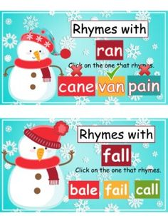WINTER Rhyming Words Review - GOOGLE SLIDES  / SELF-CHECKING activity   (K-1)
