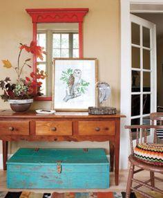 everything LEB  entry way - layered art - gentleman's gray or rumba orange mirror