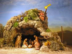 cave nativity~ probably close to reality, less likely it was a barn or shed. Christmas Cave, Christmas Crib Ideas, Christmas Nativity Scene, Christmas Villages, Christmas Pictures, Christmas Holidays, Christmas Crafts, Christmas Decorations, Christmas Centrepieces