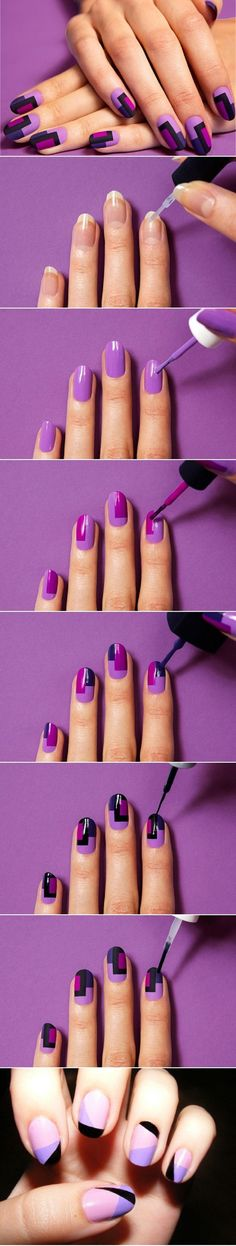 Quick Nail Art Ideas - DIY Colorful Fashion Nails - Easy Step by Step Nail Designs With Tutorials and Instructions - Simple Photos Show You How To Get A Perfect Manicure at Home - Cool Beauty Tips and Tricks for Women and Teens Cute Nail Art, Nail Art Diy, Cute Nails, Pretty Nails, 3d Nails, Coffin Nails, Acrylic Nails, Nail Art Stripes, Striped Nails