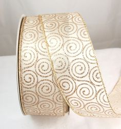 Glitter Swirl Platinum Gold and Cream Wire Edged Christmas Ribbon 2 1/2' 50 Yards * More info could be found at the image url.