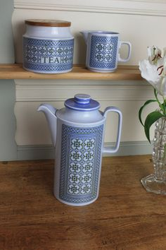 Vintage Hornsea Blue Coffee Pot - Tapestry on Etsy, £38.00