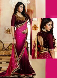 This eye-catching elegant recaption wear saree is perfect for any occasion. This recaption wear saree adorned with pretty embroidery work and stone work comes with matching blouse fabric....