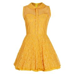 Mustard dress with mesh and lace fitted bodice, full skirt and peter pan collar. 65% Polyester,35% Cotton. Machine wash.