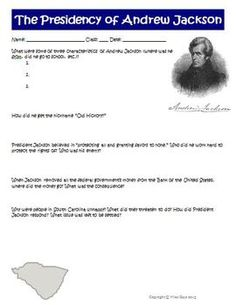 $1.50  TPT President Andrew Jackson Worksheet Activity and Answer Key Common Core ELA History Social Studies Standards: 2, 4, 8  This is a two-page document (saved in both PDF and Word) that includes questions about President Andrew Jackson and a teacher answer key.
