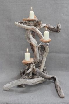 driftwood candle holders 3.jpg (400×600)