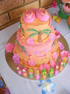 """Hawaiian / Luau"" Cake by Treasures and Tiaras Kids Parties, via Flickr"