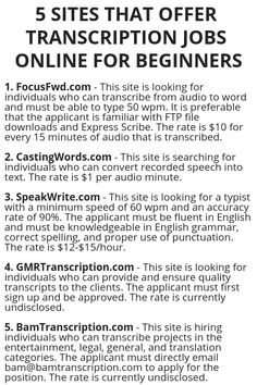 5 sites that offer transcription jobs online for beginners Ways To Earn Money, Earn Money From Home, Earn Money Online, Online Jobs, Way To Make Money, Online Sites, Legit Work From Home, Work From Home Jobs, Affiliate Marketing