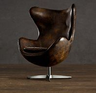 The Leather Copenhagen Chair from Restoration Hardware is a cross between Dr. Evil's swiveling chair of awesome and a dystopian future filled with leather Leather Restoration, Restoration Hardware, Home Furniture, Modern Furniture, Furniture Design, Egg Sessel, Home And Deco, Egg Chair, Interior Design