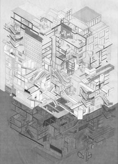 Euston Social Hub, Aggregation by Marko Milovanovic - AA Diploma 11 More modern version of the House? Architecture Graphics, Architecture Board, Architecture Portfolio, Architecture Drawings, Architecture Design, Axonometric Drawing, Isometric Drawing, Sectional Perspective, Planer Layout