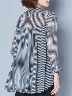 High Low Long Sleeve Strips Blouse 1ebcf8bba