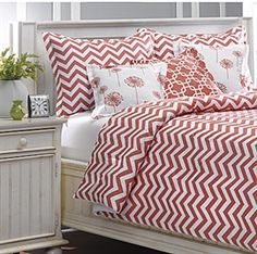Coral Chevron Bedding Set for the Home, made in USA. www.amdorm.com.