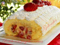 Rotolo con fragole e crema pasticcera , ricetta dolci