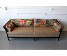 Really similar to my cane back sofa. Great example of how the shape can be redone!