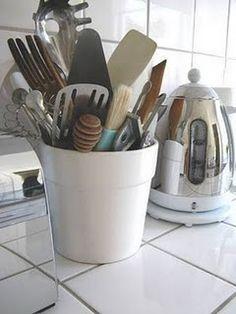 pretty ways to store cooking utensils - Kitchen Utensil Storage Ideas