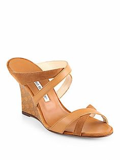 Manolo+Blahnik Varchi+Strappy+Leather+&+Suede+Wedge+Sandals
