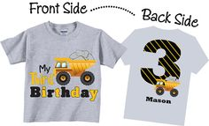 1st Birthday Shirts with Dump Truck for Boys by TheCuteTee on Etsy