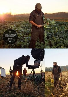 A Famous BTS Feature. Out in the Field of Broccoli at Sunrise was photographed by Ohio based advertising & editorial photographer Aaron M Conway. Aaron photographed Ben Nava with a Phase One Medium Format camera, while Ben was harvesting some organic veggies at the farm. With Profoto in a Elinchrom Rotalux, and some bounce from a reflector, and the golden sunrise in the background, both the BTS that was featured by Famous BTS Magazine and the final images turned out amazing.