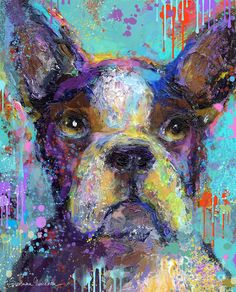 Dog Painting Painting - Vibrant Whimsical Boston Terrier Puppy Dog