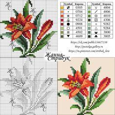 Cross Stitch Charts, Cross Stitch Embroidery, Embroidery Patterns, Cross Stitching, Cross Stitch Patterns, Flower Coloring Pages, Cross Stitch Flowers, Crochet Motif, Beaded Flowers