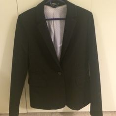 Express Black Blazer Size 12 Worn once and dry cleaned. Women's black blazer, size 12, from Express. No alterations. One button closure. Don't wear suits to work anymore so needs to go. Moving and must sell. Express Tops