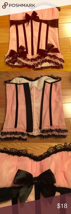 NWOT Gorgeous Lace & Satin Corset Sz Lg Stunning pink corset with black lace & satin trim bows. Very feminine & super comfortable! NWOT. Size Large. Smoke/pet free environment. Intimates & Sleepwear Chemises & Slips