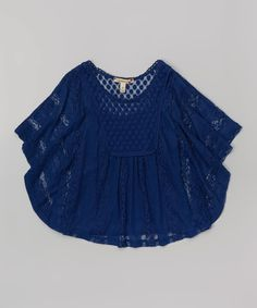 Look at this Speechless Navy Crochet Circle Top - Girls on #zulily today!
