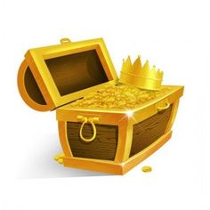 Treasure Chest with Gold Coins and Crown