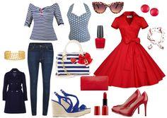 Modern rockabilly mini wardrobe in red, blue, white navy style.