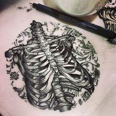 Hannah Snowdon ribcage and floral tattoo drawing