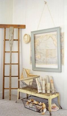 Map of the lake - with frame- very cool. love the rustic bench with shells- perfect for the porch.