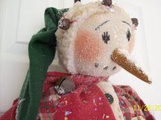Primitive Christmas  Folk Art Large Snowman by WillowCreekPrims, $55.00