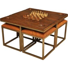 The perfect addition to your game room or library, this chess game set table features 4 leather-cushioned stools and an upcycled wood table.