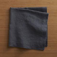 Helena Graphite Linen Dinner Napkin | Crate and Barrel - Quantity 6