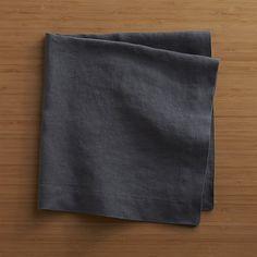 Helena Graphite Linen Dinner Napkin | Crate and Barrel - Quantity 6