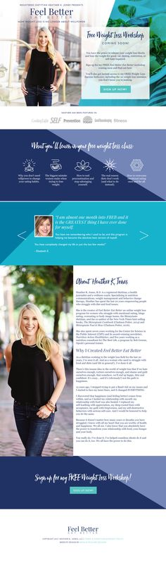Health Coach Website Design, Dietitian Website Design, Healther K. Jones, Designed by Natalie McGuire Designs