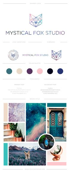Mystical Fox Studio's brand board was inspired by a whimsical galaxy feel. The branding incorporate's Ann's affinity for geometric shapes, colorful galaxies and mystical vibes. branding for creatives, branding for boutique jewelry, boutique jewelry brand, mystical color palette, mystical mood board, geometric branding, fox logo, geometric fox logo, colorful branding, mystical logo, jewelry logo, feminine logo, branding for creatives, branding for photographers, branding for artists, logo…