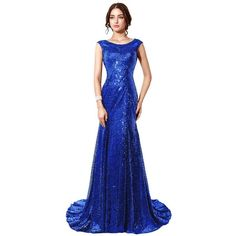 Belle House Sequined Mermaid Sheer Neck Evening Dress Prom Gown HSD197 ❤ liked on Polyvore featuring dresses, sheer sequin dress, sheer dress, sequin embellished dress, sequin prom dresses and blue homecoming dresses