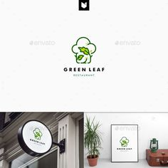 Green Leaf Restaurant Logo by vastard Logo Features : - 100 scalable vector files - a logo with 3 kind of files each total are 3 files Food Logo Design, Best Logo Design, Logo Food, Logo Design Template, Logo Templates, Graphic Design, Ux Design, Logo Restaurant, Frog Logo