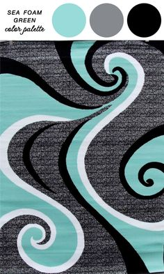 Abstract Rug Inspired Color Palette : Sea Green, White, Gray, and Black | as seen on www.BrendasWeddingBlog.com