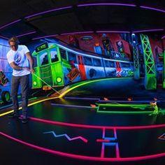 Black light golf course with 3D neon graffiti in Mainz