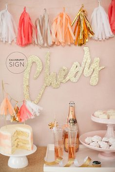 "DIY - ""Cheers"" Sign - Design + Styling: Style Me Pretty - Film: Elysium Productions - Photography: Ruth Eileen Calligraphy Signs, Calligraphy Tutorial, Party Entertainment, Holiday Parties, Party Planning, Diy Wedding, Party Time, Birthday Parties, Pom Poms"