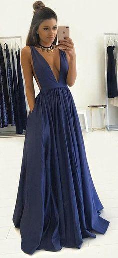 Deep V-neck Fashion Sex Long Prom Dress , Long Winter Formal Dress P027