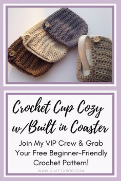 Free Cup Cozy Crochet PatternThanks craftaboo for this post.If you're looking for free crochet patterns for beginners, then look no further! This crochet cup cozy is beginner-friendly, and packed full of pictures. Come join my VIP Crew and gr# cozy Crochet Coffee Cozy, Crochet Cozy, Quick Crochet, Crochet Gifts, Free Crochet, Doilies Crochet, Thread Crochet, Crochet Animal Patterns, Doily Patterns