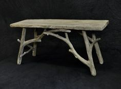 Faux Bois by Michael Christie-Fogg, via Behance Twig Furniture, Sticks Furniture, Driftwood Furniture, Concrete Furniture, Driftwood Crafts, Custom Furniture, Furniture Makeover, Rustic Table, Rustic Decor