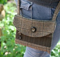 Small brown wool tweed messager bag/purse by inspiringdreams, $30.00